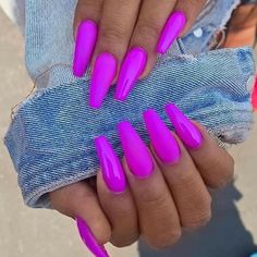 Top 50 Gel Nails 2019 To Try Them - Reny styles Gel Nails It is not a secret to anyone that gel manicure has been trending for a minute currently. it's true that there area unit several advantages. Bright Nails, Neon Nails, Magenta Nails, Bright Summer Acrylic Nails, Bright Colored Nails, Bright Summer Nails, Colorful Nail Designs, Acrylic Nail Designs, Colorful Nails