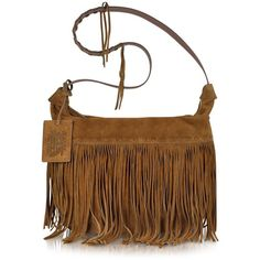 Ralph Lauren Collection Large Brown Suede Crossbody Bag ($698) ❤ liked on Polyvore
