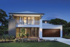 Porter Davis Charlton Fairview facade - front decking and portico New Modern House, Modern House Plans, Modern House Design, Style At Home, Rendered Houses, Double Story House, House Front Design, Facade House, House Facades