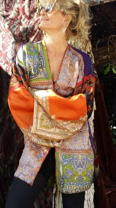 Vintage Scarf Patchwork Kimono Robe Coat Coverup Jacket Top Hippie Boho Paisley L XL Silk bell sleeves