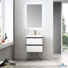 Blossom ✔️ Berlin 24 Inch Floating Modern Vanity Color Glossy White & Glossy Grey with regard to Bathroom Modern Vanity Floating Bathroom Vanities, Floating Vanity, Floating Wall, Bath Vanities, Vanity Bathroom, Bathroom Ideas, 60 Inch Vanity, Vanity Set, Grey Traditional Bathrooms