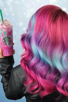 """Unicorn milkshake with unicorn hair! Hair is awesome when you've got unicorn hair! Ombre Hair, Pink Hair, Unicorn Hair Color, Semi Permanent Hair Color, Demi Permanent, Pretty Hair Color, Hair Dye Colors, Hair Colour, Galaxy Hair Color"