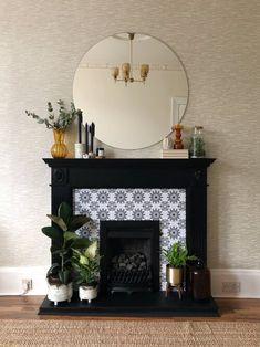 Painted Fireplace Mantels, Art Deco Fireplace, Fake Fireplace, Bedroom Fireplace, Fireplace Remodel, Fireplace Design, Renovate Fireplace, Fireplace Fronts, Fireplace Ideas