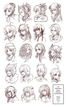 Inspiration: Hair & Expressions ----Manga Art Drawing Sketching Head Hairstyle---- [[[Batch4 by omocha-san on deviantART]]]