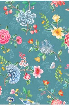 The Good Evening wallpaper has a stunning oversized design on vinyl featuring colourful flowers and tropical birds inspired by traditional Oriental wall paintings. The linen relief texture of the wallpaper gives a sense of fabric that has been applied dir Lines Wallpaper, Home Wallpaper, Good Evening Wallpaper, Washable Wallpaper, Plaid Quilt, Metal Vase, Pip Studio, Tropical Birds, Jar Storage