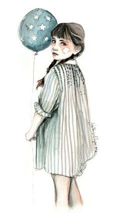 Realistic watercolor portraits/girls in big shirts