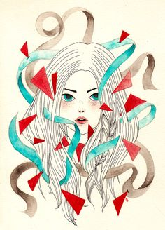 Hope, Distress & Everything in Between #watercolor #illustration #girl #art #broodingbot