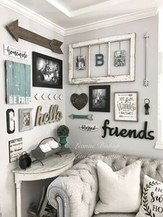 28 Farmhouse Wall Decor On A Budget to Make Your Home Comfort And Amazing - Farmhouse Decor Home Living Room, Living Room Designs, Living Room Decor, Living Room Gallery Wall, Rustic Gallery Wall, Kitchen Gallery Wall, Rustic Wall Decor, Living Spaces, Room Wall Decor