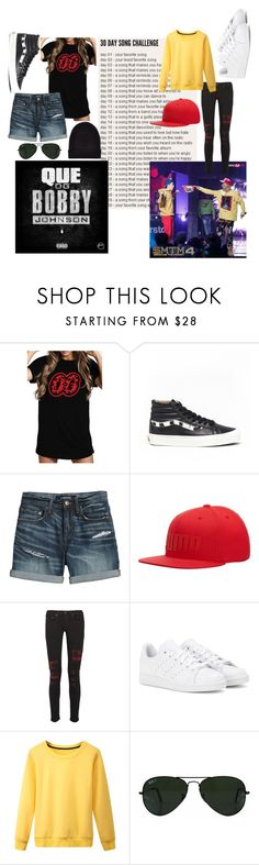 """""""Day 1~ OG Bobby Johnson/Okey Dokey"""" by jimintookmyjams ❤ liked on Polyvore featuring Vans, Canvas by Lands' End, Puma, rag & bone, adidas, Ray-Ban, New Look, 30daysongchallenge, Zico and mino"""