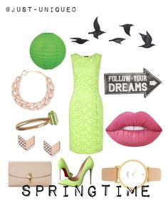 """""""Springtime"""" by just-unique0 on Polyvore featuring Christian Louboutin, Dolce&Gabbana, Kate Spade, FOSSIL, Isabelle Zumbrunn, Precis Petite, DIANA BROUSSARD, Lime Crime, Sass & Belle and Jayson Home"""