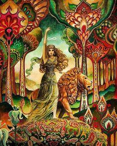 Strength Tarot Goddess Psychedelic Art Nouveau by Emily Balivet Psychedelic Art, Strength Tarot, Inner Strength, Art Nouveau, Art Deco, Pagan Art, Goddess Art, Ceres Goddess, Gods And Goddesses
