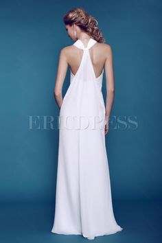 Plain Column/ Sheath Beaded Dasha's Beach Wedding Dress