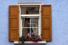 Old Windows and Shutters in Speyer, Germany Stock Photo