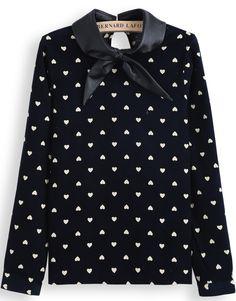Blusa combinada cuello polipiel corazones-Azul EUR€22.37