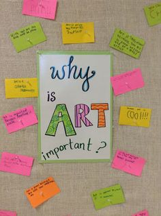 """Grade: """"Art Is"""". (first day of art)-- Why is art important? Have class write down their ideas on index cards & put them on a bulletin board Middle School Art, Art School, School Ideas, Why Is Art Important, Painting For Kids, Art For Kids, 3rd Grade Art, Grade 3, Art Bulletin Boards"""