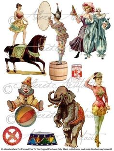 Side Show Clowns for your Puppet Theater Digital Collage Sheet Vintage Clip Art Scraps. AlteredArtifacts on Etsy.
