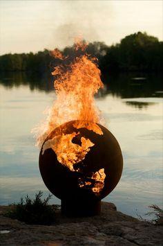 "Wood Burning Fire Pit - Fire Pit Art Third Rock - Globe Shaped 36"" Steel Fire Pit (TR)"