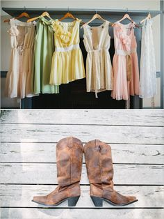 bridesmaid looks. just two of our favorite things, that's all! boots and mis matched dressed.  http://www.weddingchicks.com/2013/11/20/cozy-country-wedding/