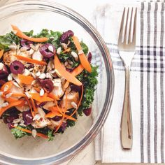 Organic chicken and kale salad