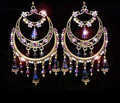 Purple and black crystal gypsy earrings