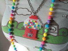 Gumball Machine Perler Bead Necklace / Gumball by ThePinkCookie, $5.00