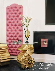 good things :-) #pink and #quilted + golden seahorse #desk