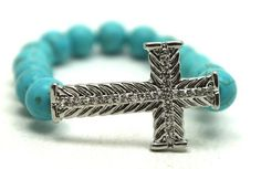Turquoise Magnesite and Silver Plated Rhinestone Cross Stretch Bracelet