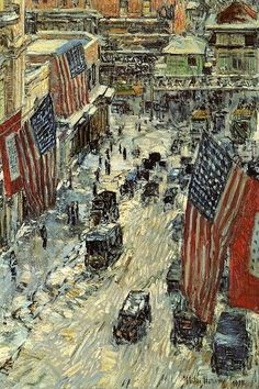 Avenue in the Rain, by Childe Hassam
