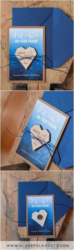 Rustic Wedding Save the Date card with wooden magnet #savethedate #bluewedding #rustic #magnet #blue #eco #weddingideas #weddingmagnet #wood