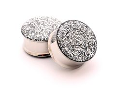 Embedded Silver Glitter Plugs gauges - 00g, 1/2, 9/16, 5/8, 3/4, 7/8, 1 inch. $19.99, via Etsy.