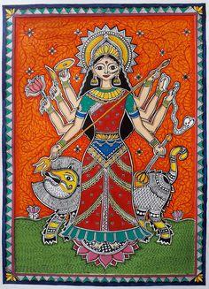 Madhubani Paintings Peacock, Tanjore Painting, Madhubani Art, Indian Art Paintings, Durga Maa Paintings, Mandala Art Lesson, Art Painting Gallery, Ganesha Painting, Indian Folk Art