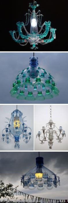 Chandeliers Constructed From Recycled Plastic PET Bottles by Veronika Richterová