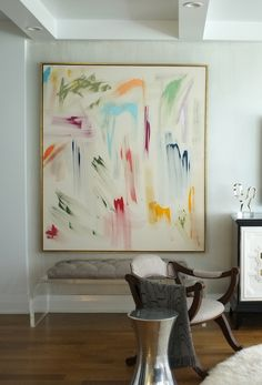 Love the scale of this large, abstract #art piece and the simple, gold gilded float frame used to set it off!