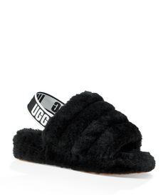 From UGG®, the Fluff Yeah Slides feature: 10 mm sheepskin upperelastic strap with UGG® mm sheepskin mm sheepskin insolewoven heel label with UGG® logomolded rubber outsoleapprox. Women's Shoes, Cute Shoes, Me Too Shoes, Pretty Shoes, Black Ugg Slippers, Womens Slippers, Ugg Style Boots, Ugg Boots, Shearling Boots