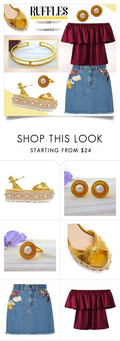 """""""Ruffles - Evangelos Jewellery"""" by evanangel ❤ liked on Polyvore featuring Gucci, Marc Jacobs and WithChic"""