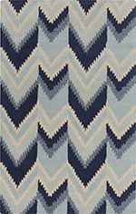 A fabulous new rug from the Mount Perry Collection in partnership with Florence Broadhurst. Navy, slate, and beige chevron style pattern is stylish and comfortable. From Surya.