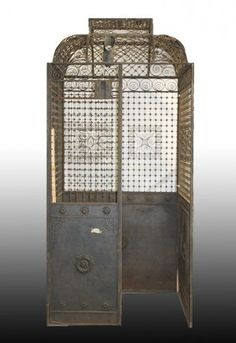 19TH C. IRON ELEVATOR CAGE FLORAL DECORATION : Lot 504