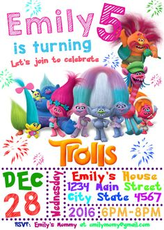 Trolls Birthday Invitation Trolls Invitation por HappyColorsDesign