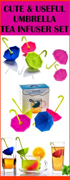 Umbrella Tea Infuser Set includes four cute umbrella-shapedtea strainers that can be used for loose leaf and whole herbal tea. A unique gift for tea-lovers!