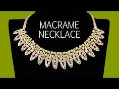 Video Collar en macrame - DIY: Macrame Necklace - Petal Chain with Beads Diy Macrame Earrings, Collar Macrame, Macrame Colar, Macrame Jewelry, Macrame Bracelets, Necklace Tutorial, Diy Necklace, Beads Tutorial, Leaf Necklace
