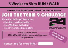 Can you walk/fun a 5km race?  Would you like to? Join us on the 26th July, registration from 10am.  cindy@team9lifestyle.co.za for details