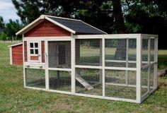 Poulailler en bois 20 poules - enclos et parc grillagé - grande taille