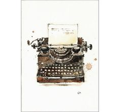 Vintage Typewriter  Original Watercolor Painting by CMwatercolors
