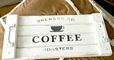 How to Make a Rustic Stenciled Coffee Tray is part of Diy tray - This beautiful rustic tray was downright copied from my friend Donna Donna from Funky Junk Interiors has a gorgeous line of stencils called Old Sign… Pallet Crafts, Wooden Crafts, Diy Wood Projects, Woodworking Projects, Diy Crafts, Woodworking Shop, Woodworking Plans, Old Wood, Rustic Wood