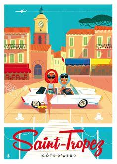 Travel infographic – Saint Tropez, côte d'Azur. Saint Tropez, Sailing Pictures, Tourism Poster, Images Vintage, Retro Poster, Art Deco Posters, Travel Illustration, Retro Art, Vintage Travel Posters