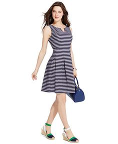 Tommy Hilfiger Split-Neck Pleated A-Line Dress - Dresses - Women - Macy's