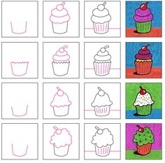 How to Draw LOTS of Cupcakes · Art Projects for Kids - - Expand on a basic how to draw a cupcake lesson by making MANY of them, adding lots of bright colors, and maybe a shadow or highlight (or both). Drawing Lessons For Kids, Art Drawings For Kids, Easy Drawings, Art For Kids, Kid Art, Drawing Tutorials For Kids, Drawing Projects, Drawing Ideas, Cupcake Kunst