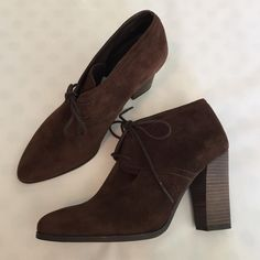 "Flash Sale Franco Sarto NWT Suede Booties super cute NWT brown suede lace-up ankle booties from Franco Sarto. Feature a wood heel approx. 4"" high. absolutely love these but too narrow in the toe for my wider foot :( size 8.5. just reduced - price firm. Franco Sarto Shoes Ankle Boots & Booties"