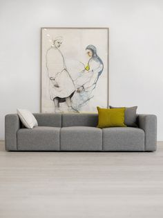 Hay Mags 25 sofa in combinatie met mooie wanddecor Living Room Colors, Living Room Designs, Sofa Furniture, Living Room Furniture, Furniture Design, Modul Sofa, Three Seater Sofa, Piece A Vivre, Home Deco