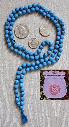 108 Tuquoise Hand Knotted Mala Beads Necklace-Blessed & Energized Karma Nirvana Meditation 6mm Prayer Beads For Awakening Chakra Kundalini